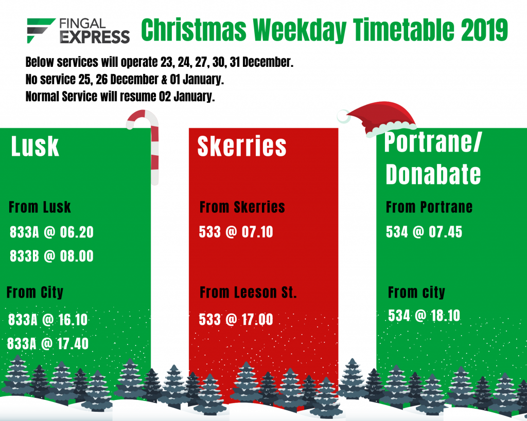 Fingal Express Christmas 2019 Timetable